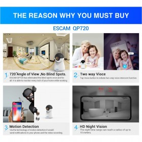 ESCAM QP720 Panoramic WiFi IP Camera CCTV 1/3 Inch CMOS 1080P - White - 5