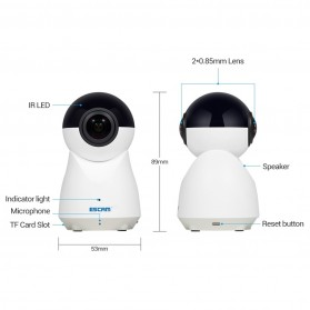 ESCAM QP720 Panoramic WiFi IP Camera CCTV 1/3 Inch CMOS 1080P - White - 8