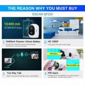 ESCAM QF230 Mini WiFi IP Camera CCTV HD 1080P - White - 7