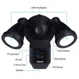 ESCAM QF608 WiFi IP Camera CCTV Floodlight PIR Detection HD 1080P - Black - 3
