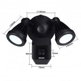 ESCAM QF608 WiFi IP Camera CCTV Floodlight PIR Detection HD 1080P - Black - 4