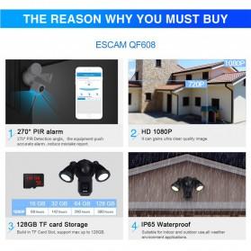 ESCAM QF608 WiFi IP Camera CCTV Floodlight PIR Detection HD 1080P - Black - 5
