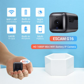ESCAM Smart Mini WIFI IP Camera CCTV Spy Cam Night Vision Audio - G16 - Black