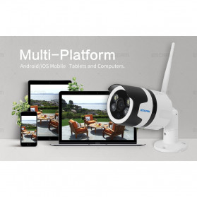 ESCAM QD109 WiFi Waterproof Bullet Wireless IP Camera CCTV 1/3 Inch 1MP CMOS 720P - White - 10