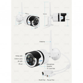 ESCAM QD109 WiFi Waterproof Bullet Wireless IP Camera CCTV 1/3 Inch 1MP CMOS 720P - White - 11
