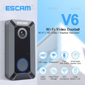 ESCAM V6 Kamera Bell Pintu Doorbell WiFi IP Camera CCTV Cloud Storage 720P - Black