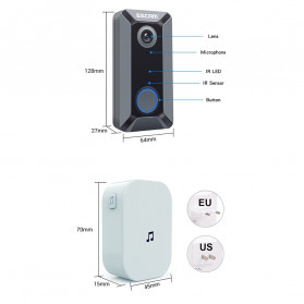 ESCAM V6 Kamera Bell Pintu Doorbell WiFi IP Camera CCTV Cloud Storage 720P - Black - 6