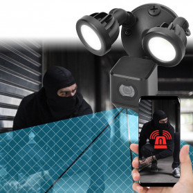 ESCAM QF612 Floodlight WiFi IP Camera CCTV PIR Detection HD 1080P - Black - 12