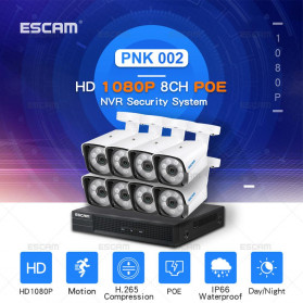 ESCAM POE NVR Security Kit HD 8Ch with 8 CCTV 1080P - PNK002 - Black - 5
