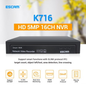 ESCAM NVR Recorder HD 5MP 16CH for IP Camera - K716 - Black