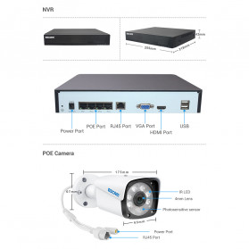ESCAM NVR Kit HD 4Ch with 4 CCTV 3MP - PVR601 - Black - 10