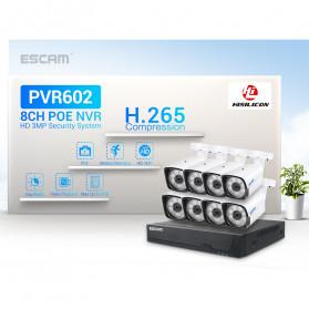 ESCAM NVR Kit HD 8Ch with 8 CCTV 3MP - PVR602 - Black - 2