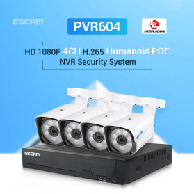 ESCAM NVR Kit HD 4Ch with 4 CCTV 1080P 2MP - PVR604 - Black - 2