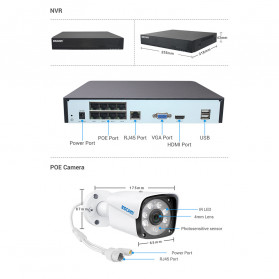 ESCAM NVR Kit HD 8Ch with 8 CCTV 1080P 2MP - PVR608 - Black - 10