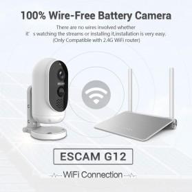 ESCAM G12 WiFi IP Camera CCTV HD 1080P 2MP Solar Panel - White - 5