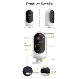 ESCAM G12 WiFi IP Camera CCTV HD 1080P 2MP Solar Panel - White - 6
