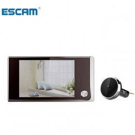 ESCAM C01 Kamera Pintu Home Security Smart Doorbell LCD Monitor 3.5 Inch - Black - 1