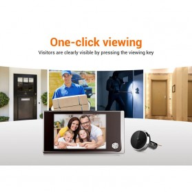 ESCAM C01 Kamera Pintu Home Security Smart Doorbell LCD Monitor 3.5 Inch - Black - 8