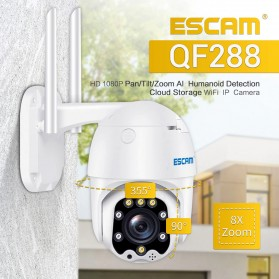 ESCAM QF288 Dome WiFi IP Camera CCTV 1/2.7 Inch CMOS 1080P 8xZoom with LED Light - White - 1
