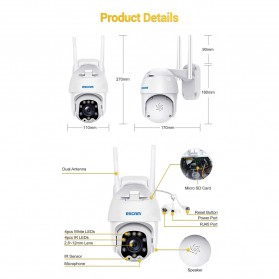 ESCAM QF288 Dome WiFi IP Camera CCTV 1/2.7 Inch CMOS 1080P 8xZoom with LED Light - White - 9