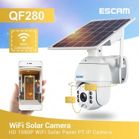 ESCAM QF280 WiFi IP Camera CCTV 1/2 Inch CMOS 1080P Solar Panel with LED Light - White