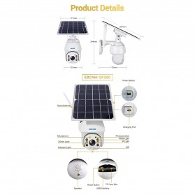 ESCAM QF280 WiFi IP Camera CCTV 1/2 Inch CMOS 1080P Solar Panel with LED Light - White - 9