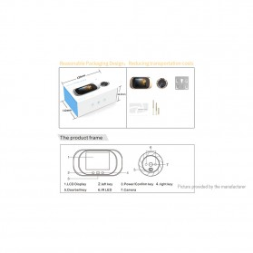 ESCAM C03 Kamera Pintu Home Security Smart Doorbell LCD Monitor 2.8 Inch - Golden - 7