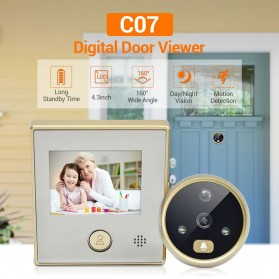 ESCAM C07 Kamera Pintu Home Security Smart Doorbell LCD Monitor 4.3 Inch - Golden