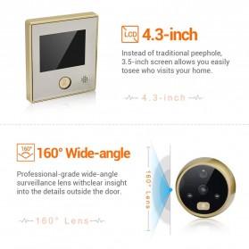 ESCAM C07 Kamera Pintu Home Security Smart Doorbell LCD Monitor 4.3 Inch - Golden - 2