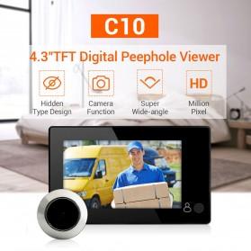 ESCAM C10 Kamera Pintu Home Security Smart Door Viewer Peephole LCD Monitor 4.3 Inch - Black - 4