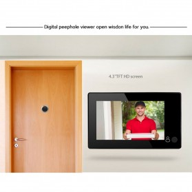 ESCAM C10 Kamera Pintu Home Security Smart Door Viewer Peephole LCD Monitor 4.3 Inch - Black - 6