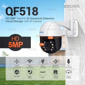 ESCAM QF518 Dome WiFi IP Camera CCTV 1/2.7 Inch CMOS 5MP with LED Light - White