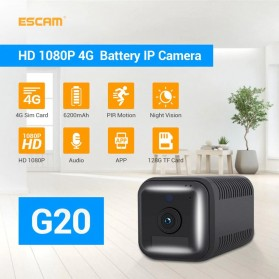 ESCAM Smart Mini WIFI IP Camera CCTV Spy Cam Night Vision Audio 4G LTE - G20 - Black - 1