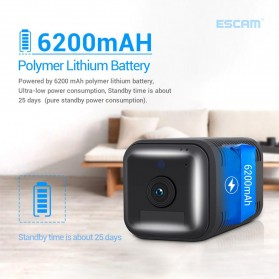 ESCAM Smart Mini WIFI IP Camera CCTV Spy Cam Night Vision Audio 4G LTE - G20 - Black - 2