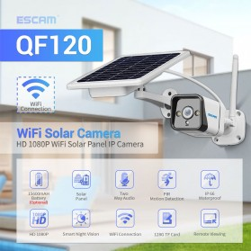 ESCAM QF120 WiFi IP Camera CCTV PIR Night Vision 1080P Solar Panel - White