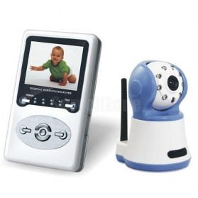 Wireless Baby Monitor Intercom Camera with Night Vision - White/Blue