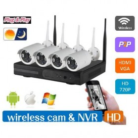 Wireless NVR Kit 130W HD 4Ch with 4 CCTV 960P - 160512 - Black