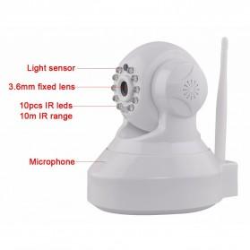 Wireless CCTV IP Camera P2P 300P CMOS 3.6mm IR LED with TF Card - Black - 3
