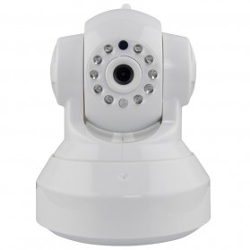 Wireless CCTV IP Camera P2P 300P CMOS 3.6mm IR LED with TF Card - White