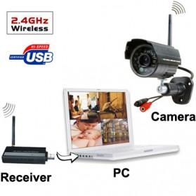 USB DVR Digital Wireless 2.4GHz 4 x IR Camera Security System - W701DK1 - Black