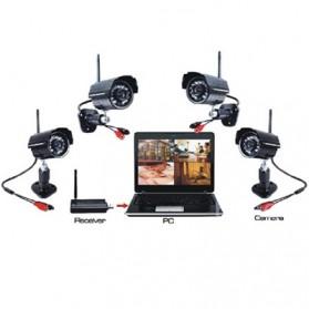 USB DVR Digital Wireless 2.4GHz 4 x IR Camera Security System - W701DK1 - Black - 2