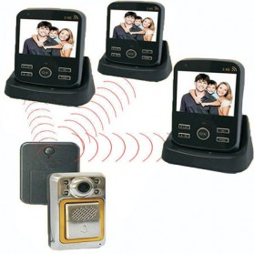 Wireless Peephole Video Door Phone 3x Monitors - JS-PVD335(1V3) - Black - 4