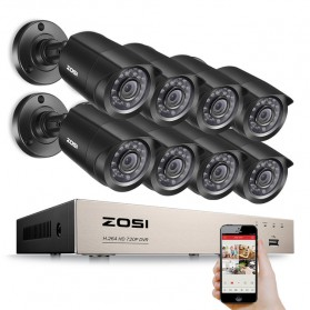 ZOSI Wired DVR Kit HD 8Ch with 8 CCTV 720P - Black