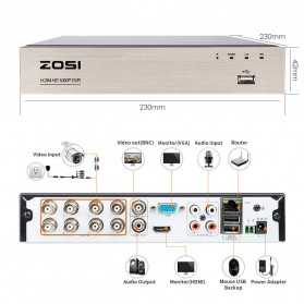 ZOSI Wired DVR Kit HD 8Ch with 8 CCTV 720P - Black - 3