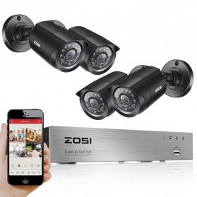 Aksesoris Kamera Keamanan - ZOSI Wired DVR Kit HD 4Ch with 4 CCTV 720P - Black