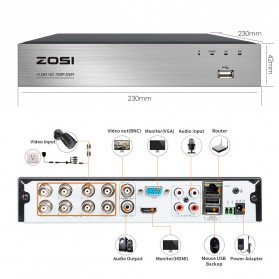 ZOSI Wired DVR Kit HD 4Ch with 4 CCTV 720P - Black - 2