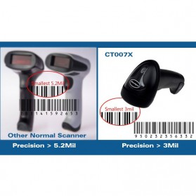 Cilico Wireless Barcode Scanner 2.4GHz 1500mAh - CT007X - Black - 8