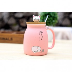 Gelas Cangkir Keramik Model Kitten Milk Good Time 450ML - 65846 - Pink