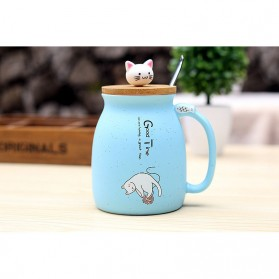 Gelas Cangkir Keramik Model Kitten Milk Good Time 450ML - 65846 - Blue