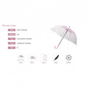 Payung Transparant Sakura Flower Umbrella 80 cm - F000095 - Pink - 9